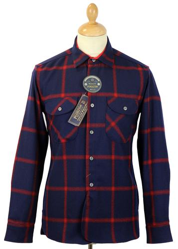 PENDLETON HERITAGE WOOL CHECK SHIRT NAVY