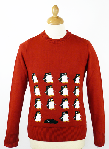 RETRO CHRISTMAS JUMPERS PENGUIN PARTY JUMPER RED