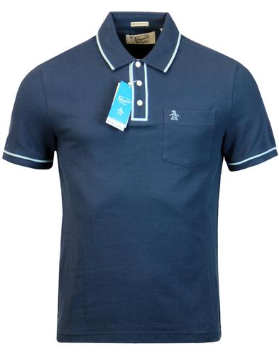 original penguin earl retro mod tipped polo denim