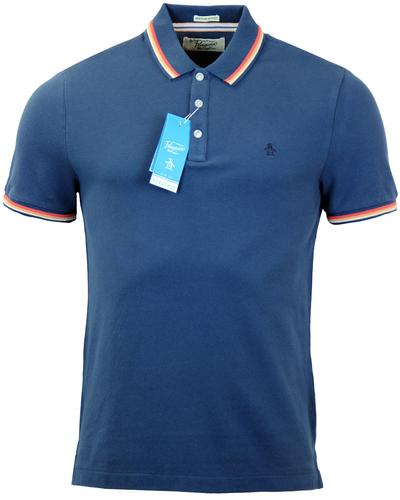 ORIGINAL PENGUIN VOLLEY RETRO MOD TIPPED POLO BLUE