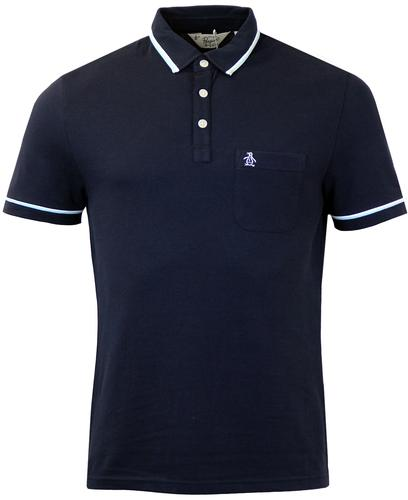 ORIGINAL PENGUIN RETRO MOD TIPPED PIQUE POLO NAVY