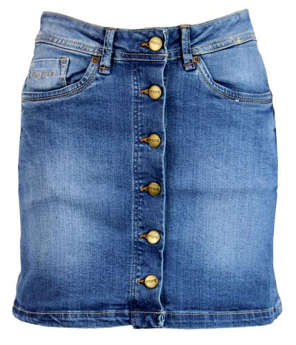 PEPE JEANS WOMENS RETRO MOD 70S DENIM MINI SKIRT