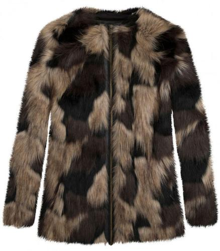PEPE JEANS RETRO MOD 60s FAUX FUR COW COAT