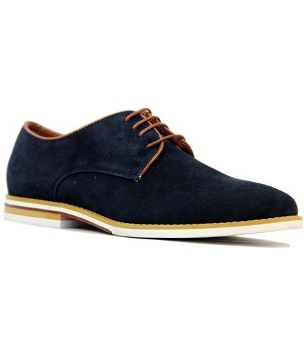 peter werth nesbitt 60s mod suede derby shoes navy