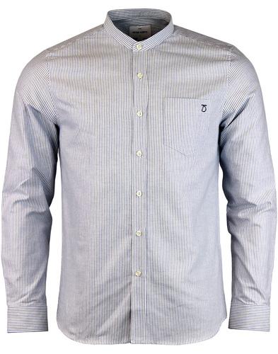 peter werth norton grandad collar shirt blue