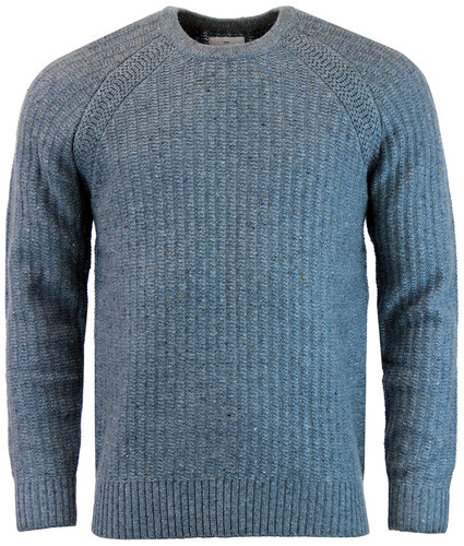 peter werth oregon retro mod donegal jumper blue