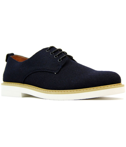 peter werth pegg retro mod melton derby shoes navy