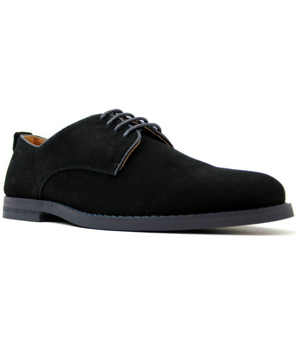 peter werth pegg retro mod suede derby shoes black
