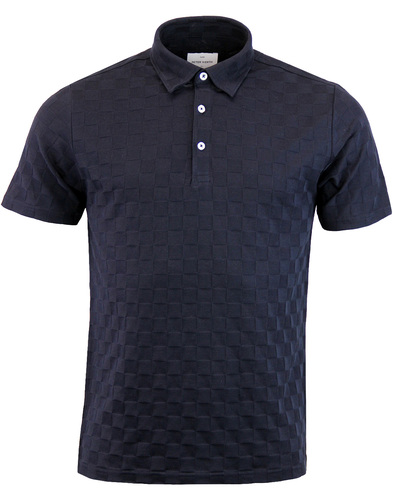Point PETER WERTH 60s Tonal Check Polo - Navy