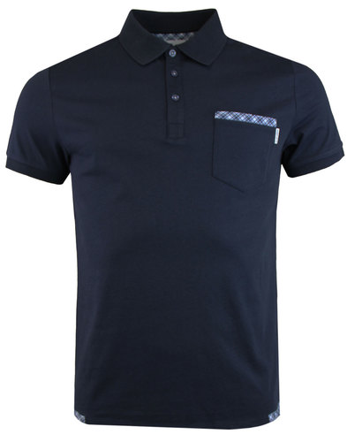 Service Polo PETER WERTH Check Trim T-Shirt Navy