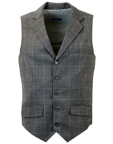 PETER WERTH Tailored Retro Mod Check Waistcoat
