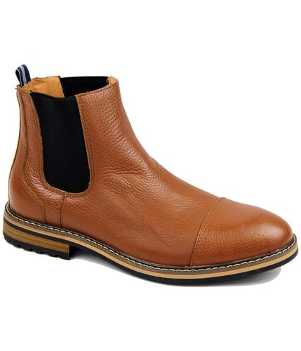 PETER WERTH RETRO MOD 60S CHELSEA BOOTS TAN