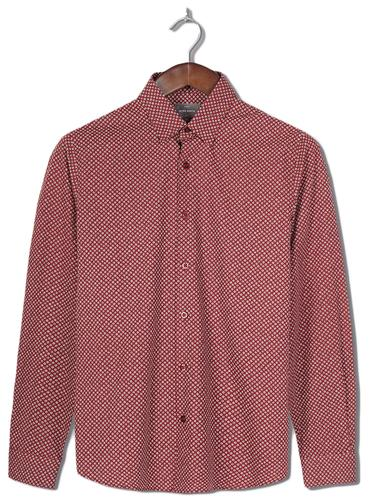 PETER WERTH RETRO MOD 60S DITSY FLORAL SHIRT RED