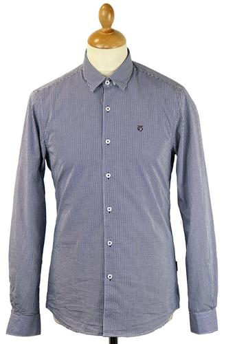 PETER WERTH RETRO MOD 70S GINGHAM SHIRT NAVY