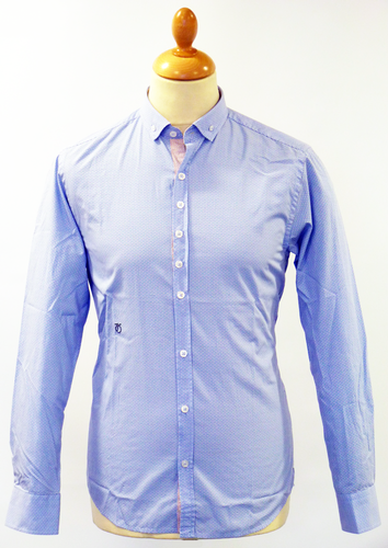 PETER WERTH RAYNOR POLKA DOT MOD RETRO SHIRT BLUE