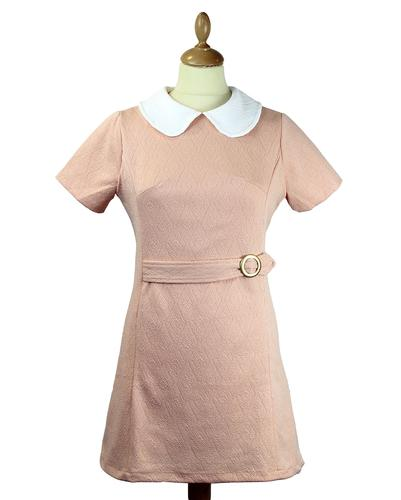 Sally Retro 1960s Mod Texture Dress in Blush Peach