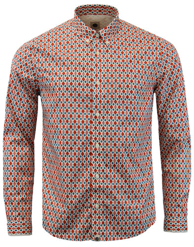pretty green abbot retro mod diamond print shirt