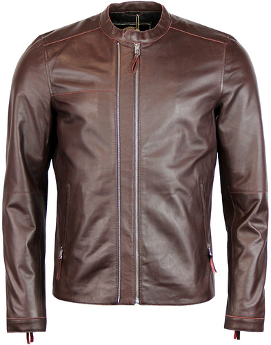 Addison PRETTY GREEN Retro Leather Biker Jacket