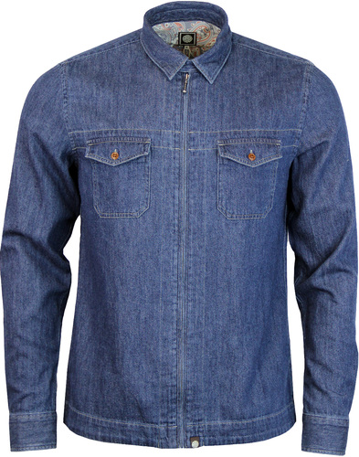 Blagrave PRETTY GREEN Retro Zip Up Denim Shirt