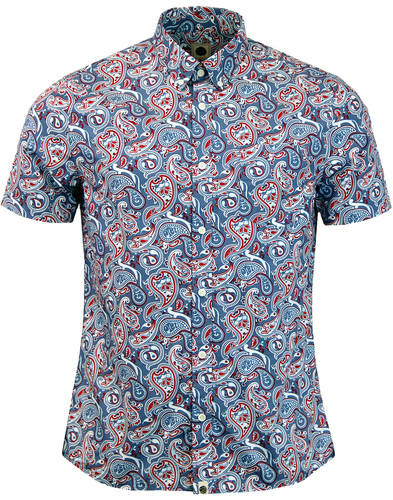 pretty green camley S/S paisley shirt blue