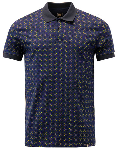carville pretty green retro 60s mod geo polo navy