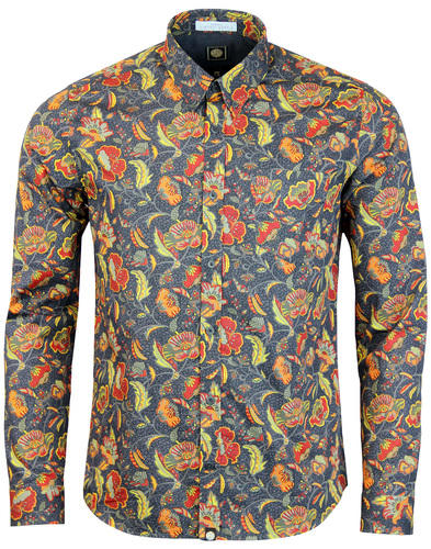 pretty green cavell floral shirt grey