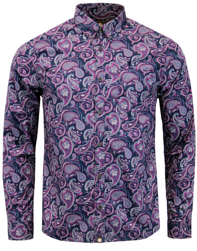 pretty green chelsea paisley retro 1960s mod shirt