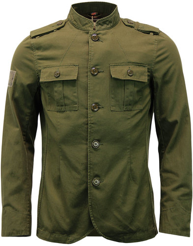 pretty green cotton lennon retro mod jacket khaki
