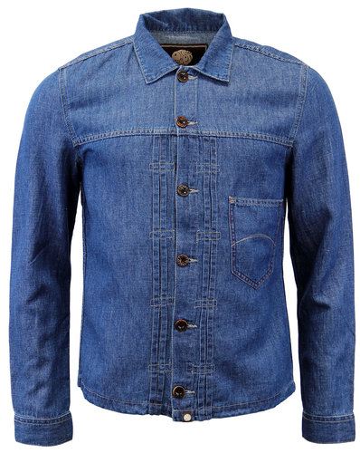 Ancroft PRETTY GREEN Retro 1970s Denim Overshirt