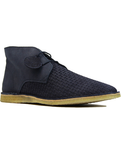 Gresham PRETTY GREEN Mod Weaved Desert Boots NAVY
