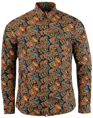 pretty green gretton paisley retro 60s mod shirt