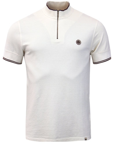 Langshaw PRETTY GREEN Retro Zip Neck Cycling Top