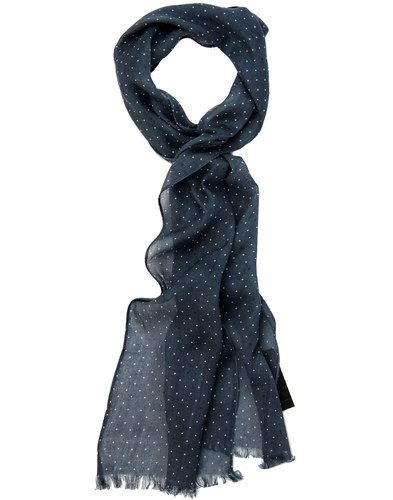 PRETTY GREEN Retro Mod Polka Dot Scarf CHARCOAL