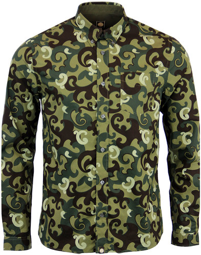 pretty green riley print 70s mod camo shirt green