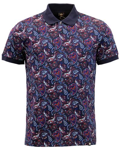 PRETTY GREEN RETRO MOD 60s PAISLEY SEFTON POLO