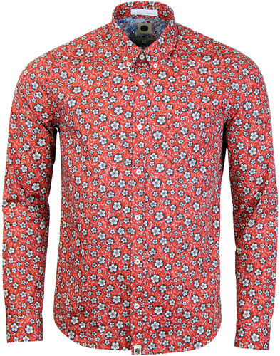 pretty green wynne liberty floral shirt dark red