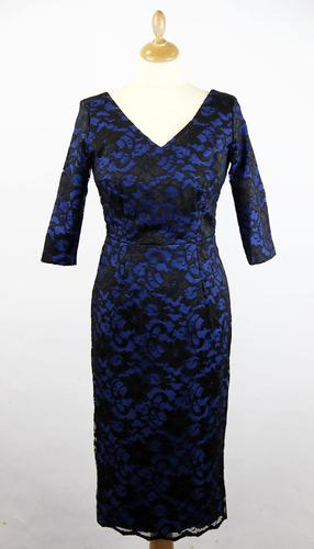 PRETTY DRESS Burbank 50s Royal & Lace Pencil Dress