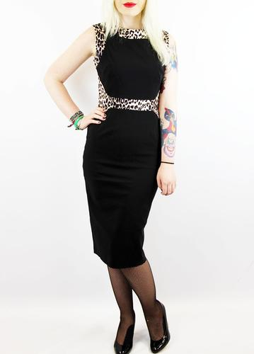 PRETTY DRESS COMPANY RETRO 50S LEOPARD BLACK DRESS