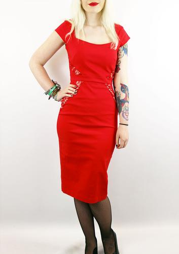 PRETTY DRESS COMPANY RETRO 50S RED DRESS COMO LACE