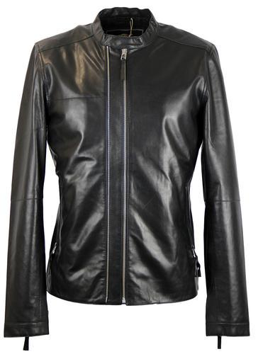 PRETTY GREEN Addison Black Leather Biker Jacket
