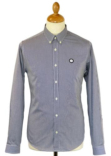 PRETTY GREEN MICRO GINGHAM SHIRT MOD SHIRT NAVY