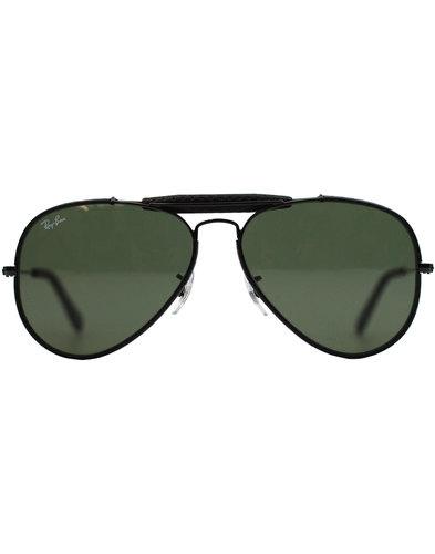 Outdoorsman Craft RAY-BAN Leather Sunglasses Black