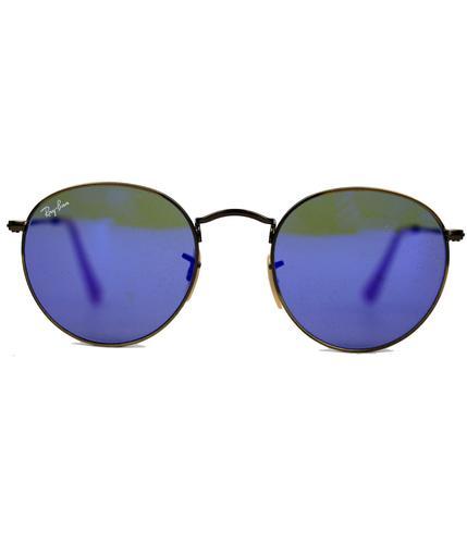 RAY-BAN RETRO MOD 60s ROUND LENNON SUNGLASSES BLUE