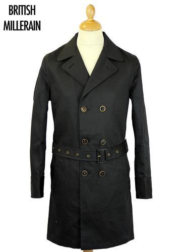 REALM & EMPIRE BRITISH MILLERAIN TRENCH COAT BLACK