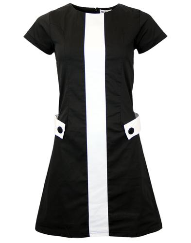 MADCAP ENGLAND RETRO 60S MOD MINI DRESS BLACK
