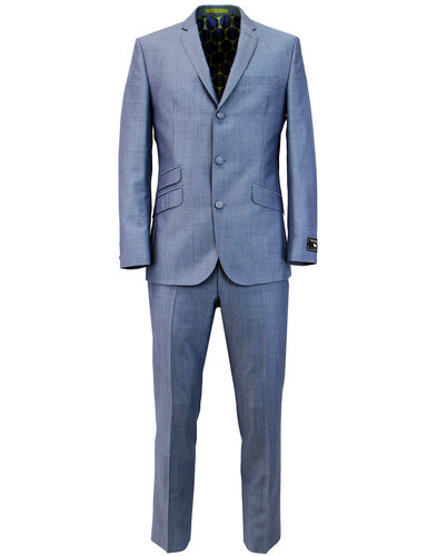 Mens Retro Mod 60s Mohair Tonic Suit in Blue