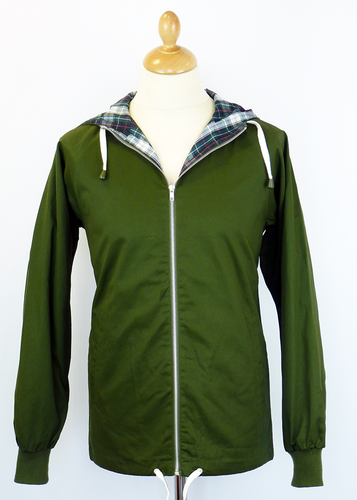 MENS RETRO ANORAK COAT RETRO 70S ANORAK GREEN