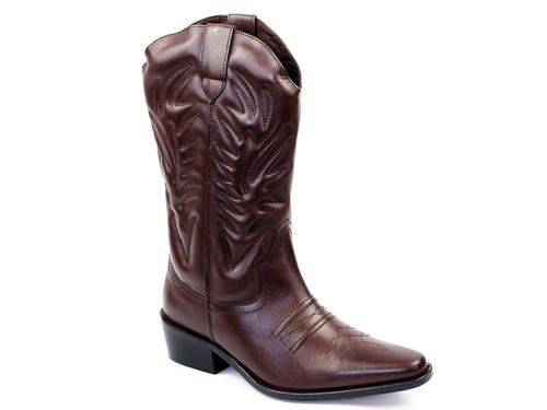 RETRO COWBOY BOOTS KANSAS LEATHER BROWN BOOTS