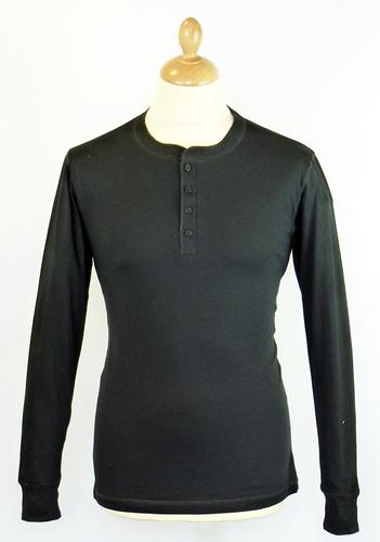Mens Retro 70s Indie L/S Henley Neck Black T-Shirt