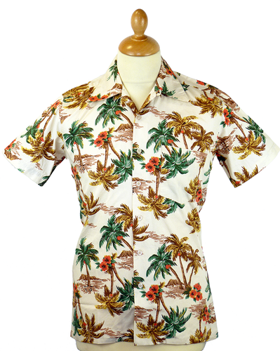 RETRO HAWAIIAN SHIRT 70s MAGNUM PALM TREE SHIRT